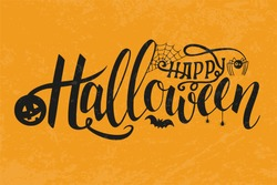 Vector Illustration of halloween on yellow background. Happy Halloween Text Banner. Poster on yellow background. Autumn poster with pumpkin, web, bat, spider.