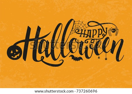 Vector Illustration of halloween on yellow background. Typography poster. Happy Halloween Text Banner. Poster for Halloween on yellow background. Autumn poster with pumpkin, web, bat, spider.