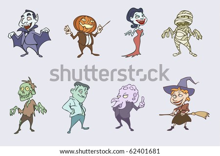 vector illustration of halloween spooky characters - vampire, Dracula, monster, mummy, witch, sea monster, zombie, pumpkinhead