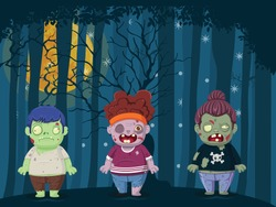 Vector illustration of halloween zombies. creativity with blue night landscape with full moon over dark forest. Illustration used for kid and children's holiday design, cards, banner