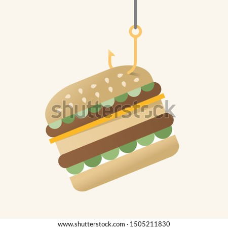 Vector illustration of hamburger on fishing hook. Idea - Consumerism, harmful fast food, unhealthy eating trap, diet and nutrition, obesity and high cholesterol level etc.