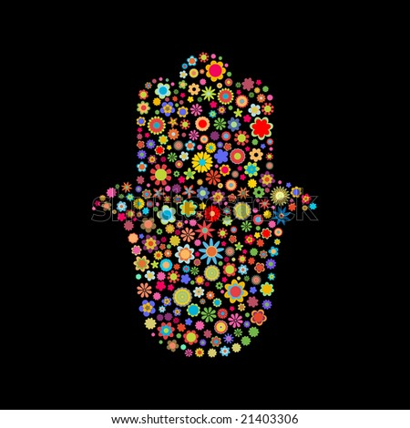 Vector illustration of  hamsa shape  made up a lot of  multicolored small flowers on the black background