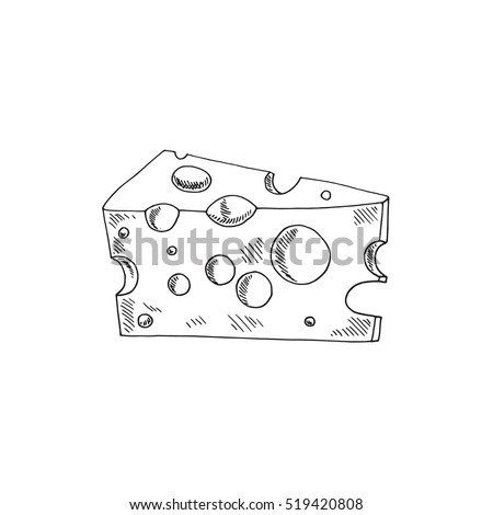 Vector illustration of hand drawn cheese.
