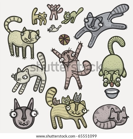 Vector illustration of hand drawn cute cats set