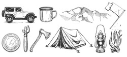 Vector illustration of hand drawn forest camping vacation objects set. Off road car, metal mug, mountains, flag, can top, tin opener, ax, tent, lantern, bonfire. Vintage engraving style.