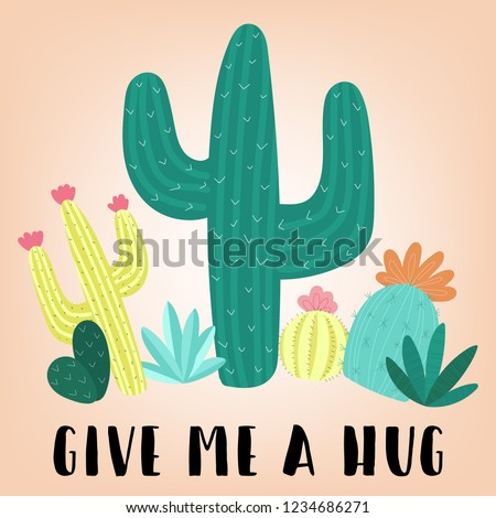 Vector illustration of hand-drawn multicolored cacti with the inscription Give me a hug. Image on South American theme for children, cards, invitation, print, textiles.