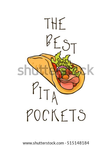 Vector illustration of hand drawn pita pocket. Beautiful food design elements, perfect for any business related to the food industry.