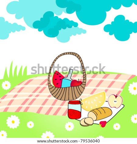 Picnic Basket Drawing Cute Summer Picnic Basket