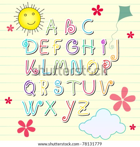 Vector illustration of hand drawn style cute summer sketchbook alphabet letters