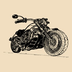 Vector illustration of hand drawn vintage retro motorcycle. Detailed sketched classic chopper in ink style for biker club sign, garage label, custom store emblem.