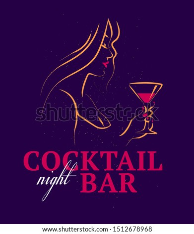 Vector illustration of hand drawn young beautiful lady hold wine glass isolated on dark background. Sketch minimal style. Concept for ladies night party, bar, happy cocktail hour, bar restaurant logo. Foto stock ©