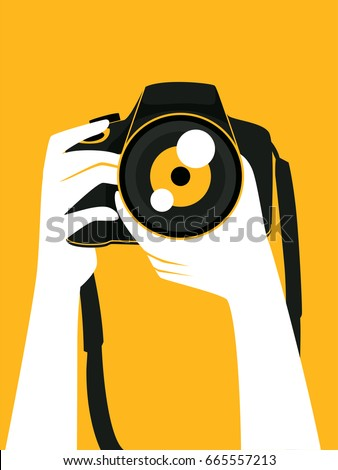 Vector Illustration of Hand Holding a Digital Camera taking a Picture