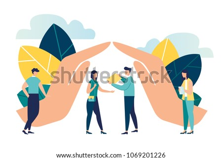 vector illustration of hand protection house . human life insurance. the metaphor of hand over the people to protect against accidents to life and personal property. accident insurance schedule design