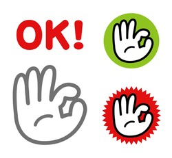 Vector illustration of hand sign. (OK sign icon set)