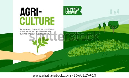Vector illustration of hand with plant sprout. Design for agricultural company with crops, farm land, fields. Template with agriculture for banner, annual report, prints, flyer, booklet, brochure, web