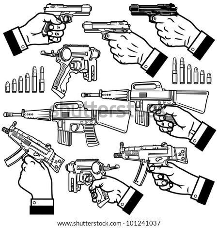 Vector illustration of handgun (pistol) and bullets.
