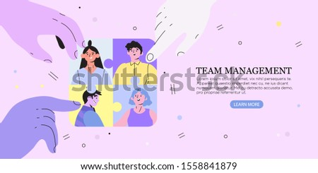Vector illustration of hands doing jigsaw puzzle with people, coworkers. Company employees coordination, personnel productivity, effective team building and management, teamwork, leadership concept.