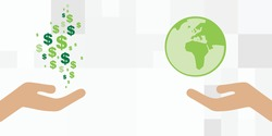 vector illustration of hands exchanging money to planet for natural resources