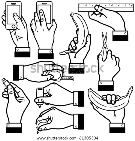 vector illustration of hands in different poses.