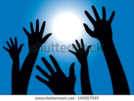 Vector illustration of hands reaching into the air against the sun and blue sky