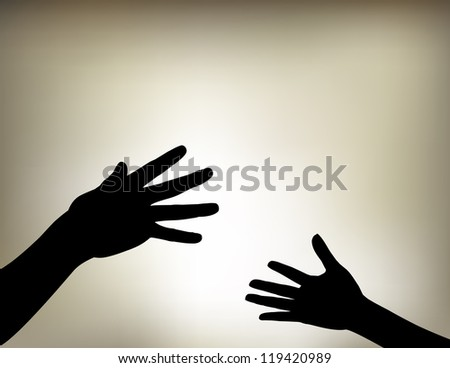 Vector illustration of Hands Reaching Out with a vintage style gradient mesh background./ Hands Reaching Out