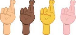 Vector illustration of hands with crossed fingers emoticons