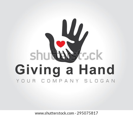 vector illustration of hands with heart on white background