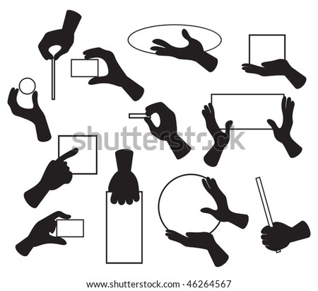 Vector illustration of hands with various objects