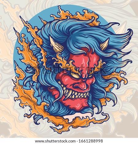 Vector illustration of hannya oni demon ストックフォト ©
