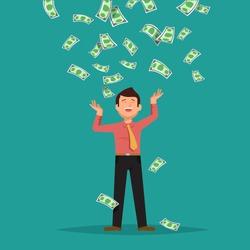 Vector illustration of happy businessman celebrates success standing under money rain banknotes cash falling on blue background. Concept of success, achievement, wealth flat style