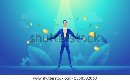 Vector illustration of happy businessman celebrates success standing under money rain banknotes cash falling on blue background. Concept of success startup.