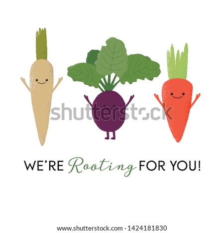 Vector illustration of happy carrot, beetroot and parsnip characters with the funny pun 'We're rooting for you!' Cute vegetable design concept. Foto stock ©