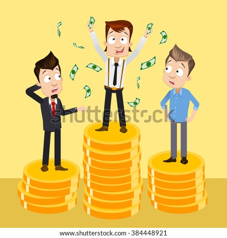 Vector illustration of happy cartoon businessman with a lot of dollar banknote flowing in the air vector and competitors looking on him with jealousy