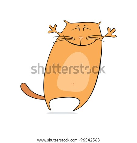 Vector illustration of happy cartoon cat