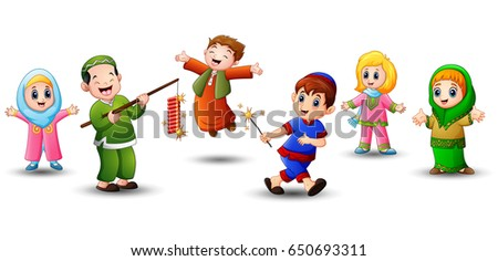 Vector illustration of Happy cartoon kid celebrate eid mubarak with play firework