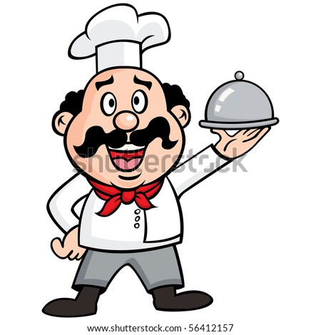 Vector illustration of Happy Chef carrying a covered dinner.