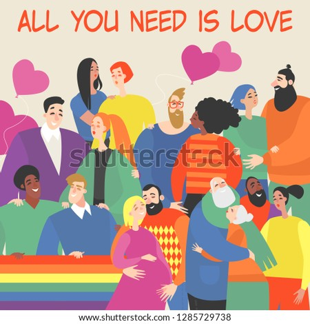 Vector illustration of happy couples of different nationalities, sexual orientation and age. Colorful image in cartoon style.