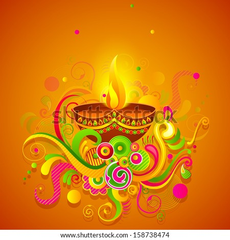 vector illustration of Happy Diwali diya with colorful floral
