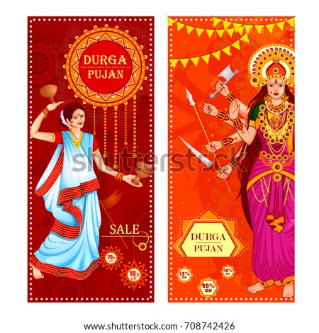 vector illustration of Happy Durga Puja festival Sale And Promotion background for India holiday Dussehra