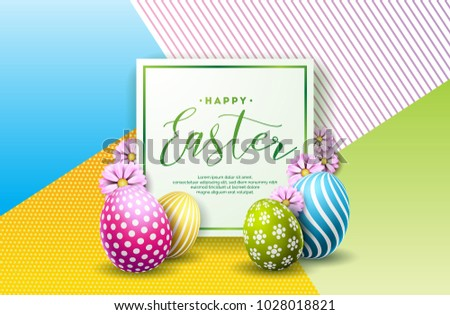 Vector Illustration of Happy Easter Holiday with Painted Egg and Flower on Clean Background. International Celebration Design with Typography for Greeting Card, Party Invitation or Promo Banner. #1028018821