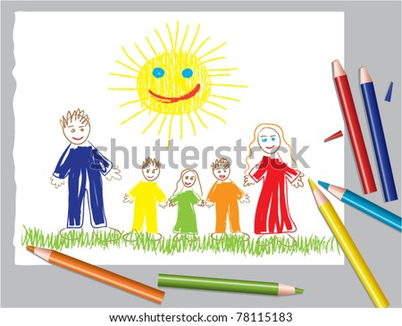 vector illustration of happy family and the sun