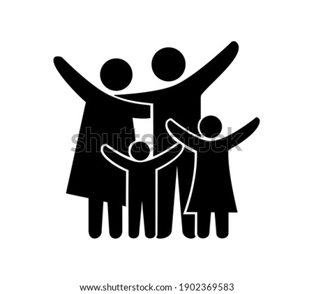 Vector illustration of happy family icons. Father, mother, daughter and son on a white background