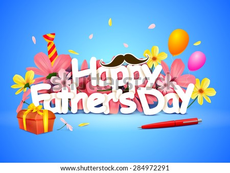 vector illustration of Happy Father\'s Day wallpaper background