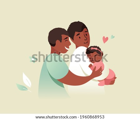 Vector Illustration Of Happy Gay Male Couple Holding Adopted Baby Daughter In Arms. Lesbian and Gay Parents concept.