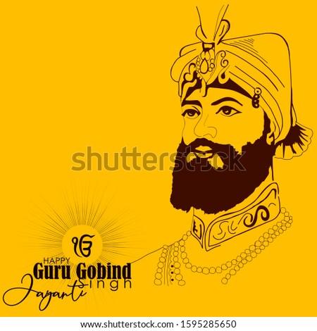vector illustration of Happy Guru Gobind Singh Jayanti festival for Sikh celebration.