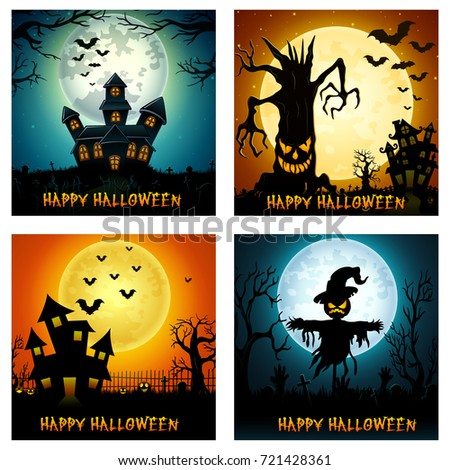 Vector illustration of Happy Halloween banner set