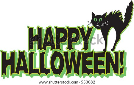 "Vector illustration of ""Happy Halloween"" with scared black cat."
