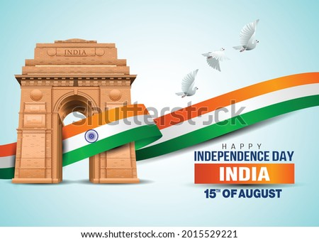 vector illustration of happy independence day in India celebration on August 15. vector India gate with Indian flag design and flying pigeon