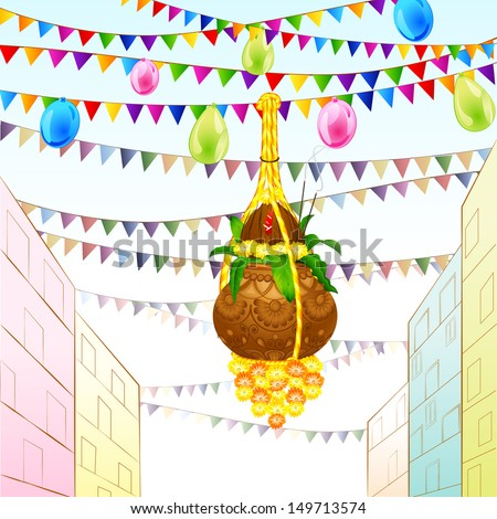 vector illustration of Happy Janmashtami background with hanging dahi handi