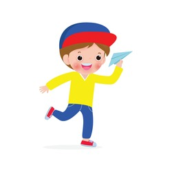 Vector illustration of happy kid playing with paper airplane,children and origami plane flying on the sky isolated on white background
